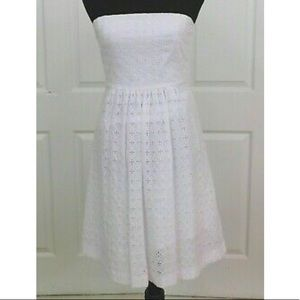 NWT Banana Republic White Eyelet Strapless Dress
